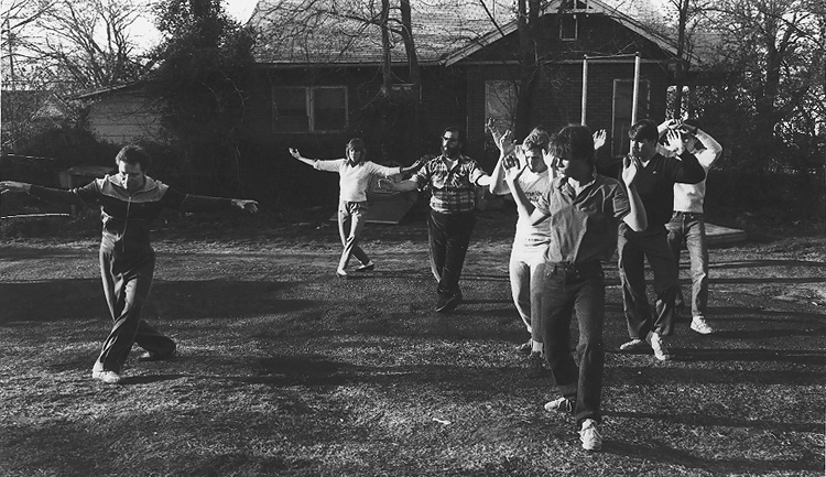 Mark instructing some of the cast and crew from the movie, The Outsiders
